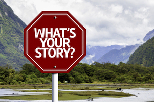 56602076 - what's your story written on the road sign with valley background