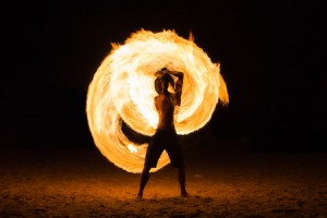 40171345 - man fire show on the beach ,koh kood ( kood island ) thailand
